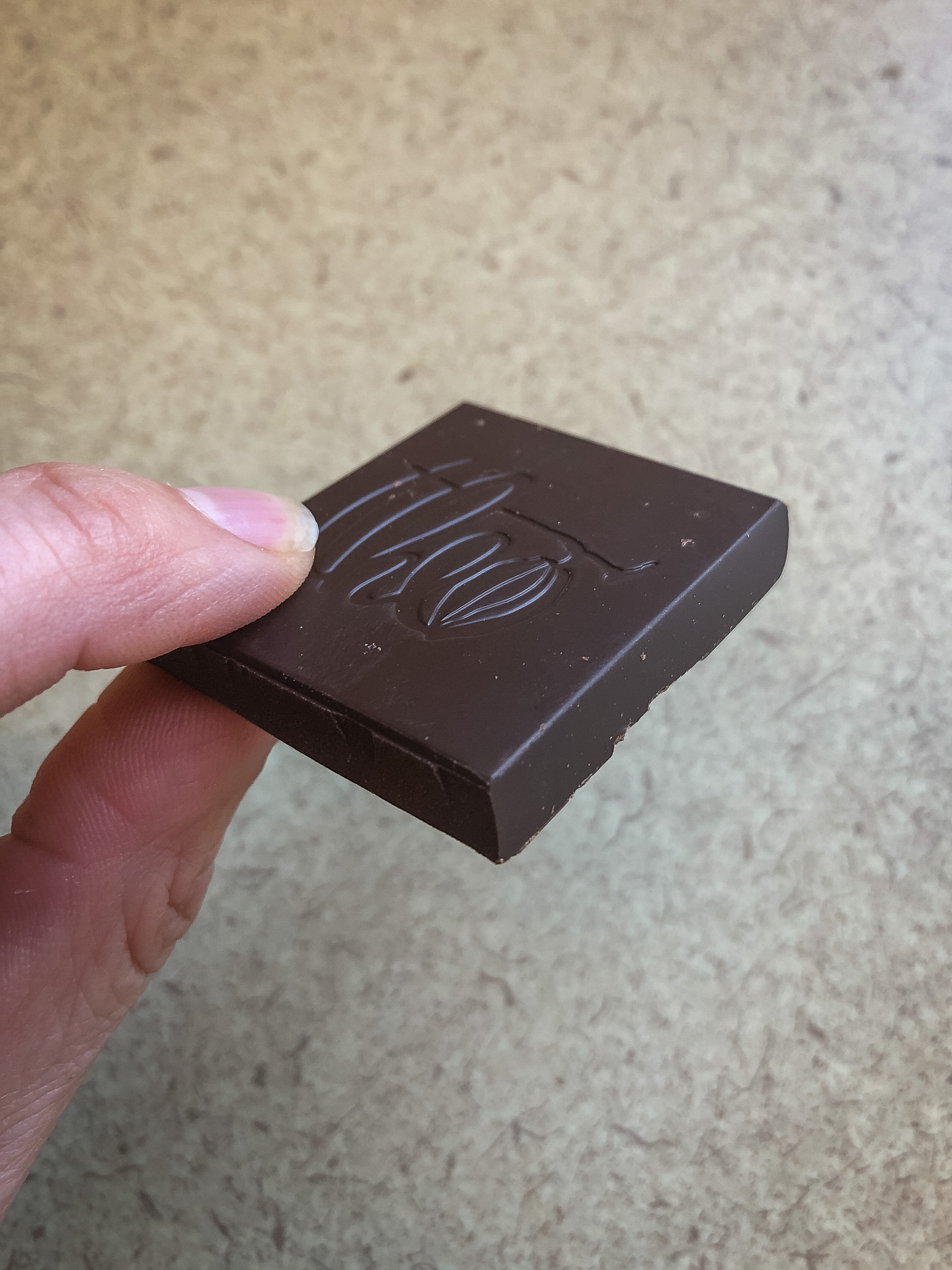 Fingers holding a piece of dark chocolate