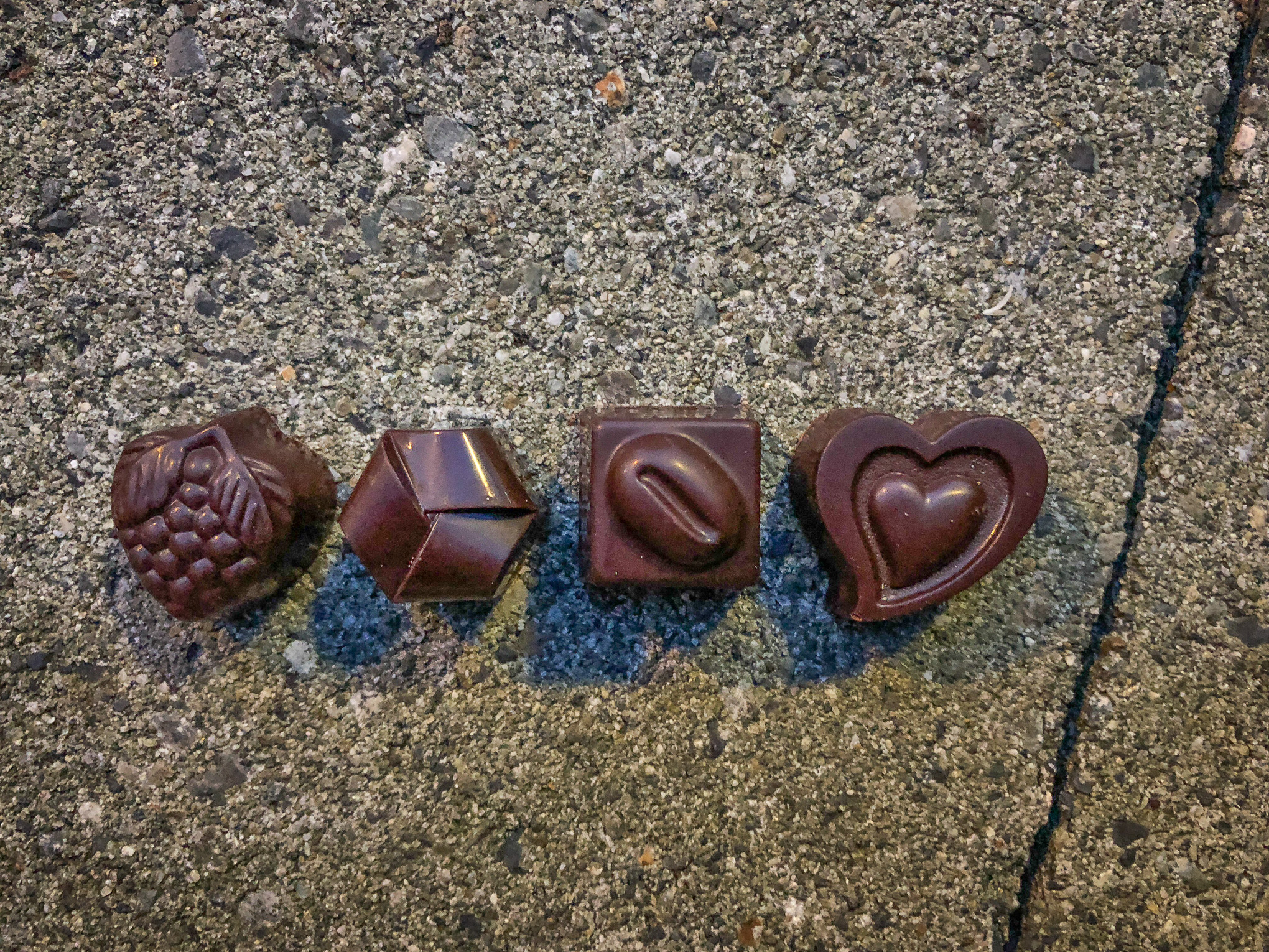 Four pieces of chocolate candies