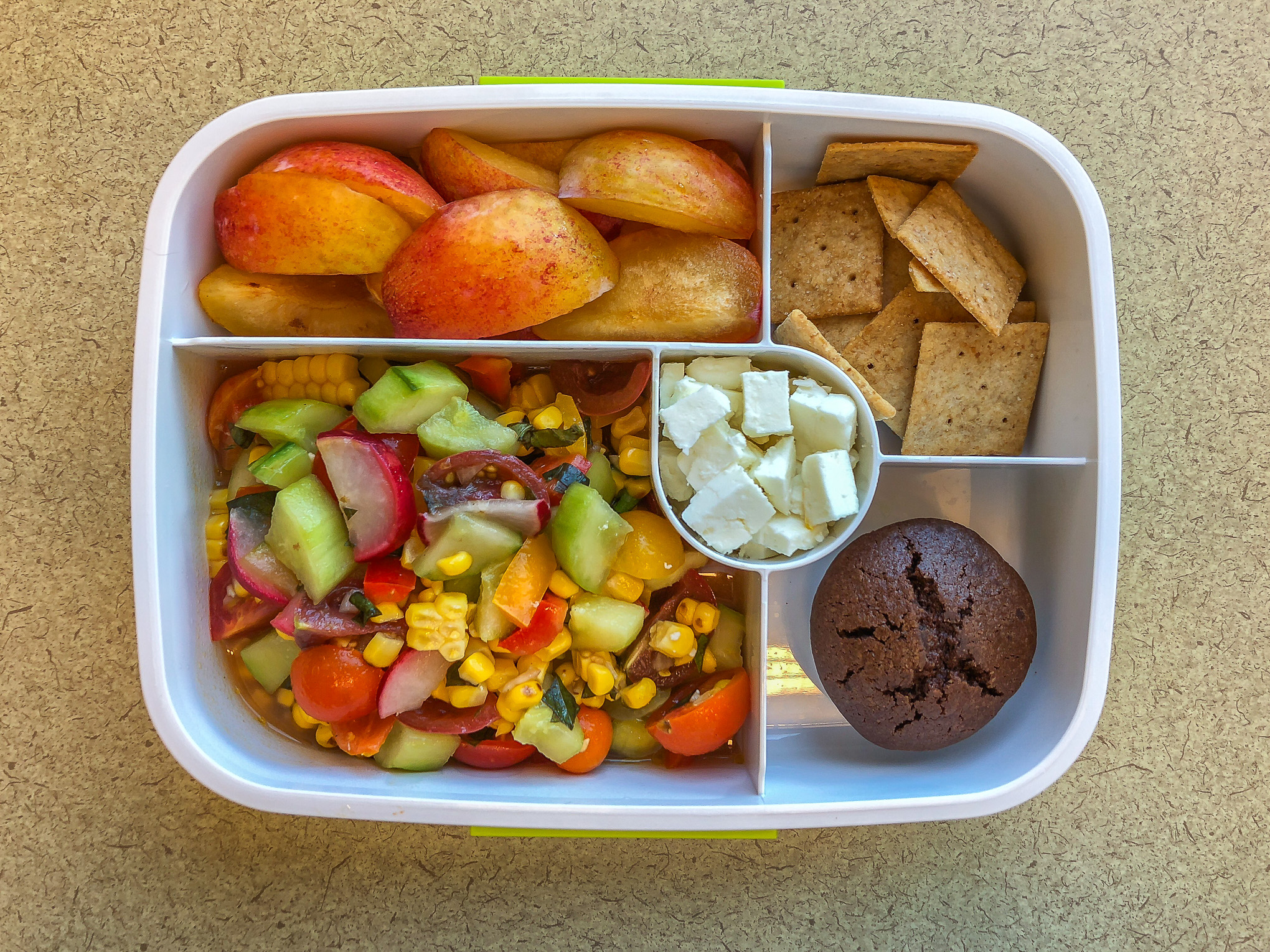 Bento box filled with fruit, crackers and vegetables