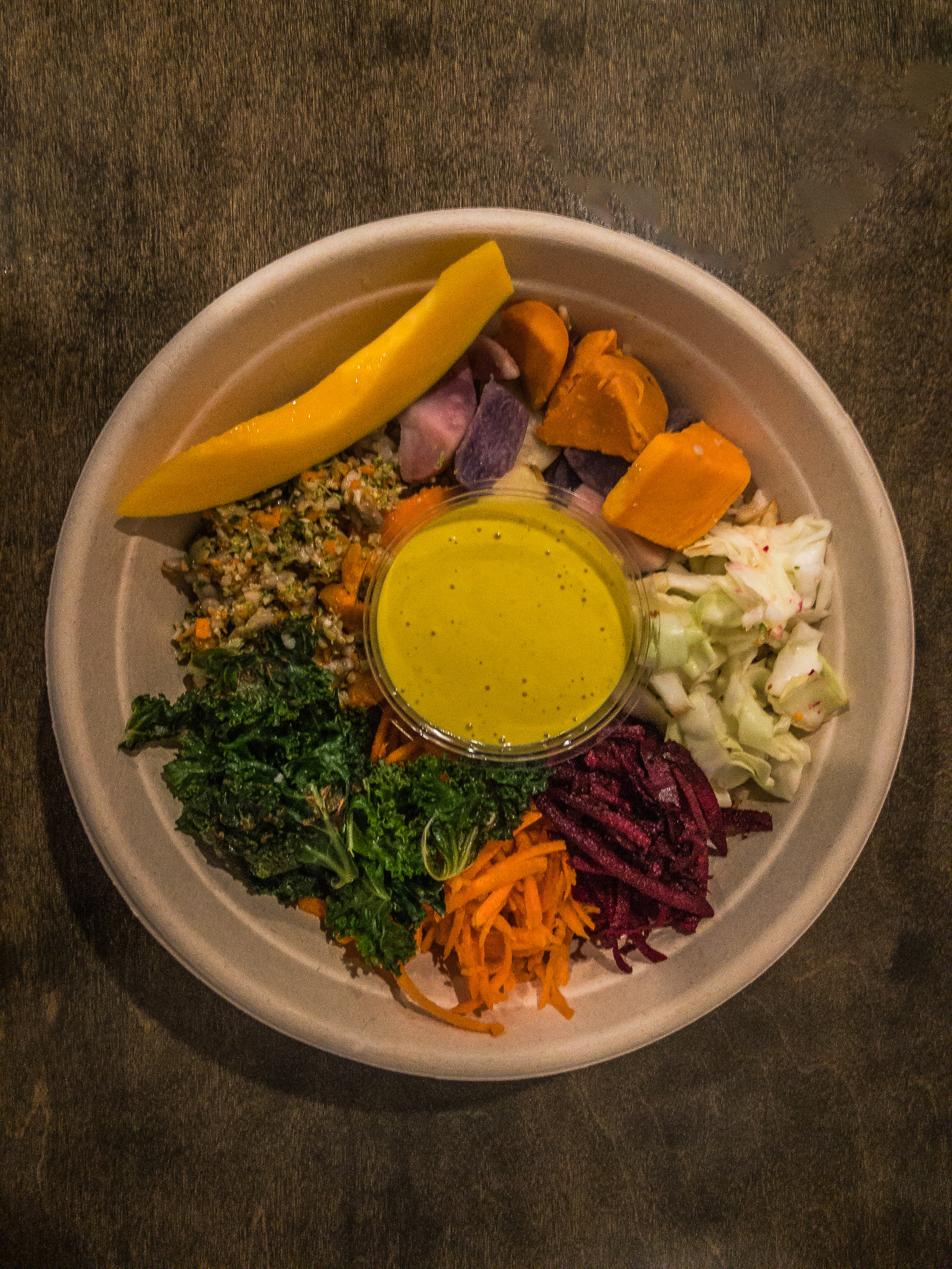Overhead shot of a bowl filled with veggies