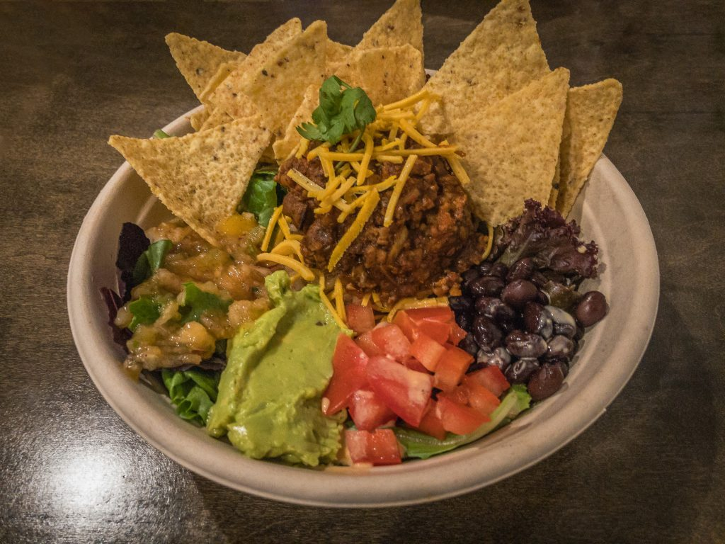 Taco salad bowl with tortilla chips