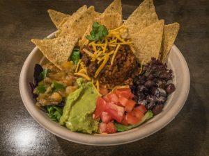 Taco salad bowl with tortilla chips