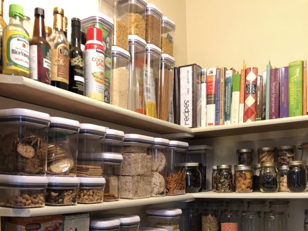 Full shelves in a pantry