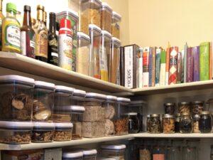 Full shelves in a pantry