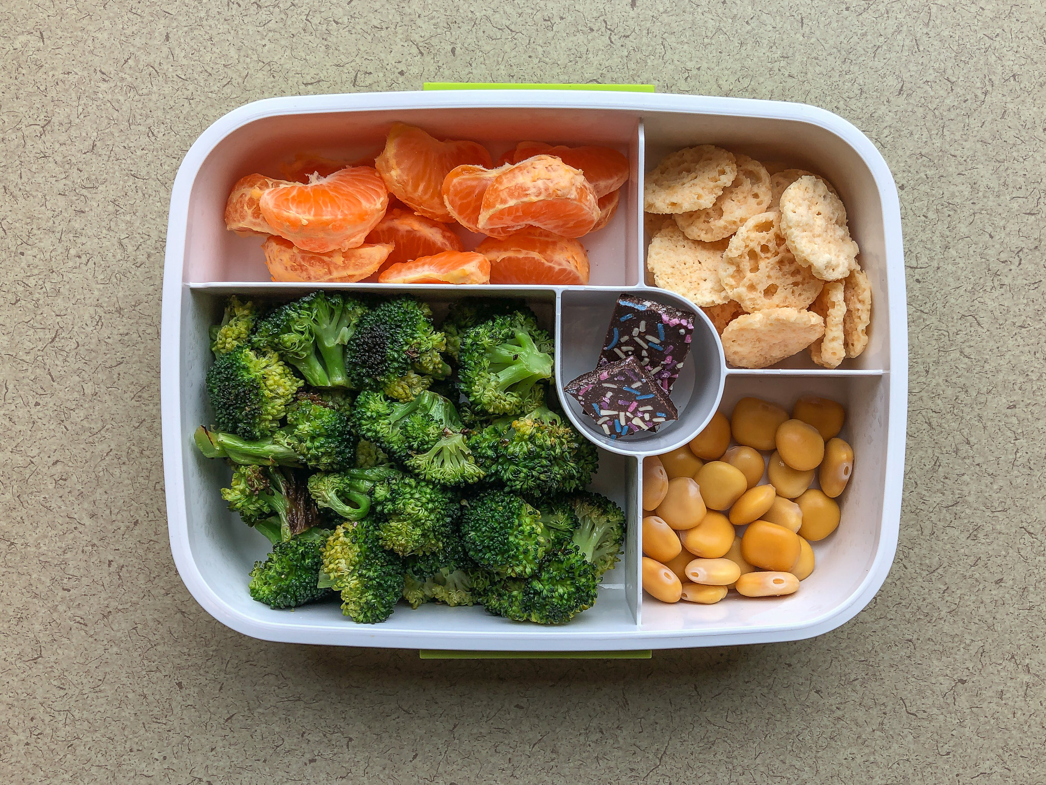 Bento box filled with oranges, broccoli and beans
