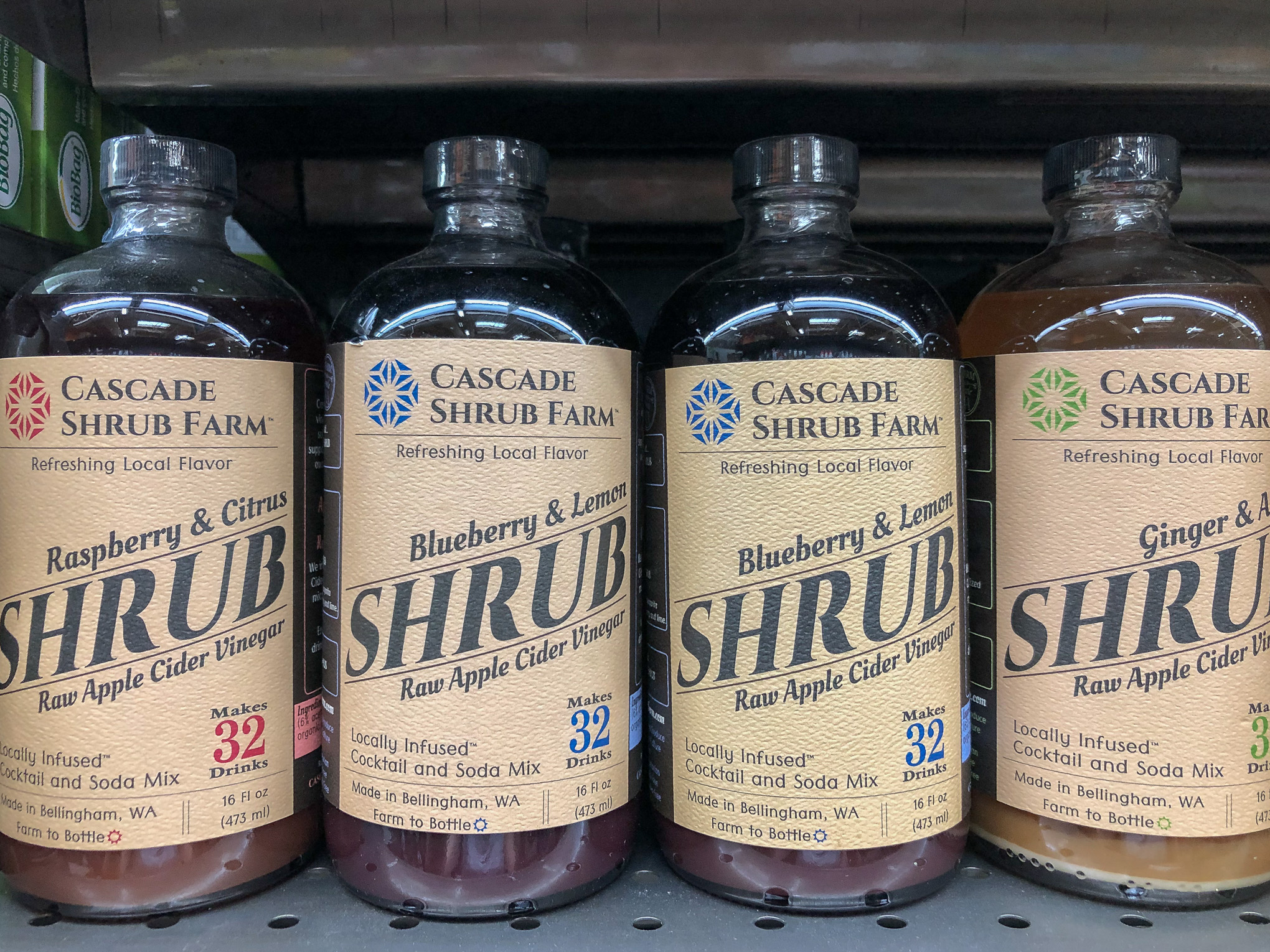 4 bottles of shrub syrup