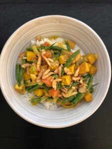Bowl of curried veggies over rice