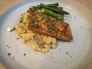 Plate with tofu, mashed potatoes, and asparagus