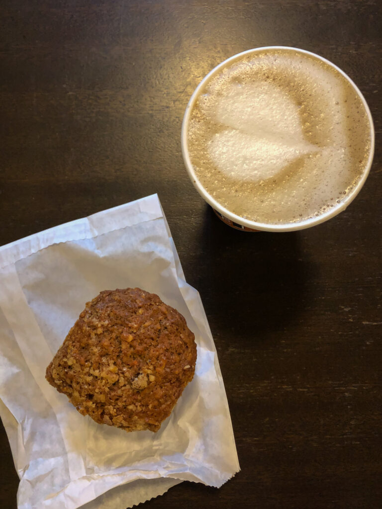 Top view of a cup of coffee and a muffin