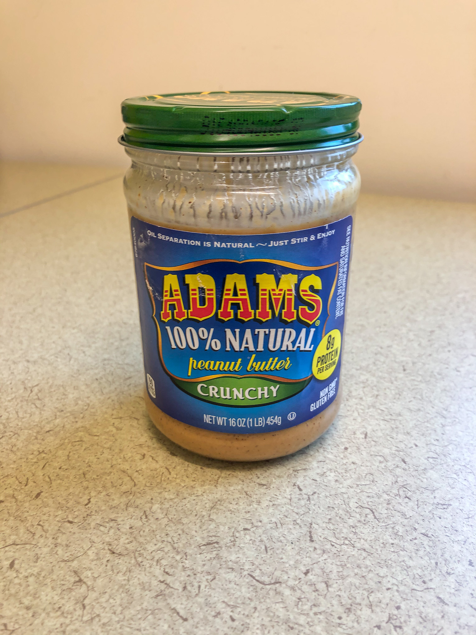 Jar of Adam's Natural peanut butter