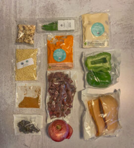 Top down picture of ingredients for a recipe