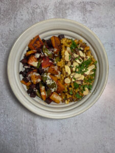Bowl of roasted veggies and grains