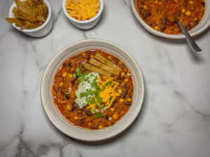 Top down picture of a bowl of chili