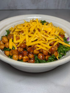 Bowl of chickpeas and greens