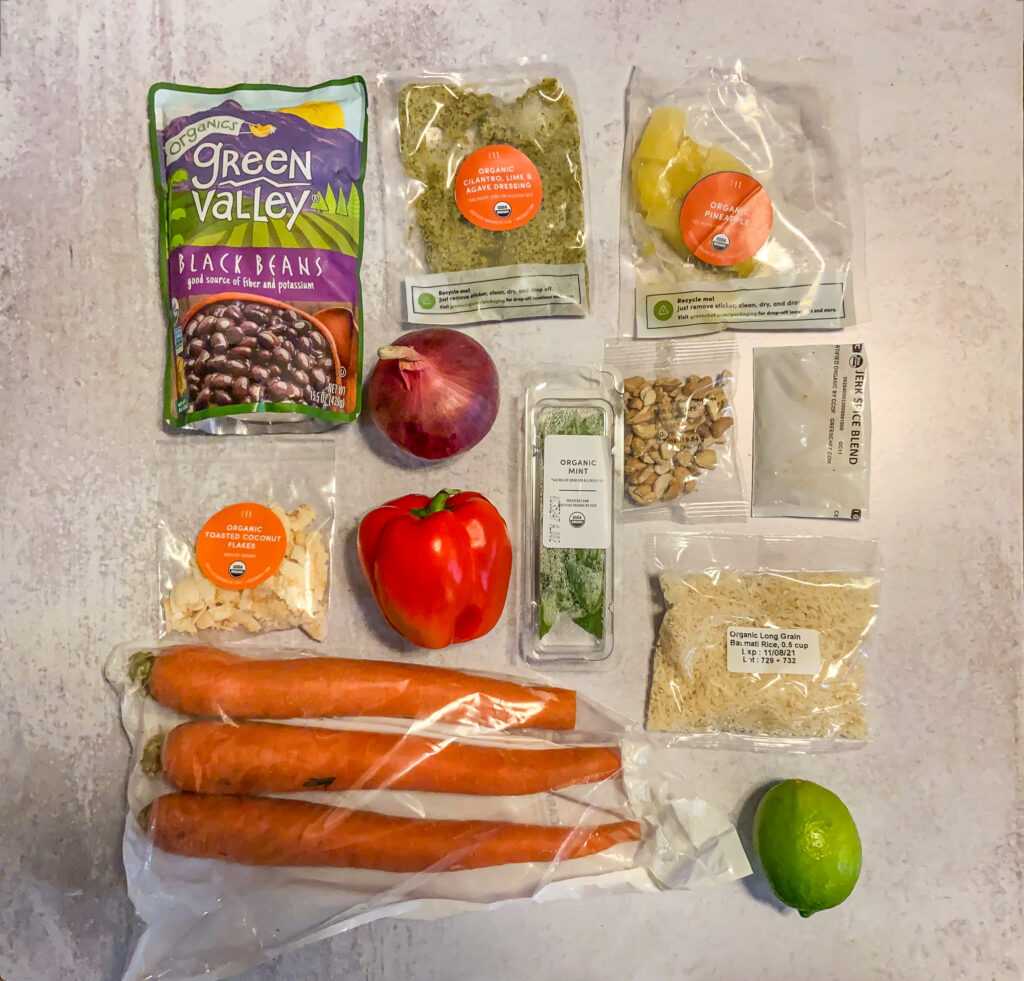 Top down picture of recipe ingredients in bags for chili