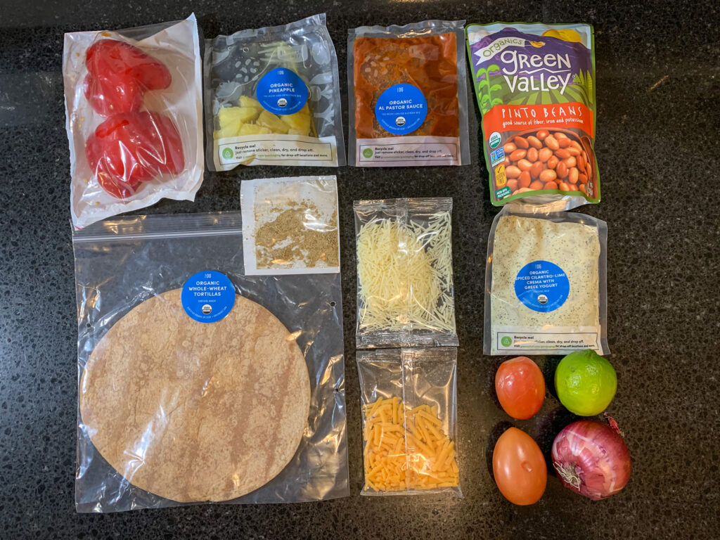 Top down picture of recipe ingredients in bags