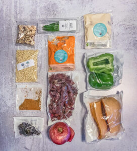 Top down view of ingredient bags on a counter