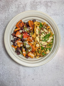 Top down bowl of couscous and veggies