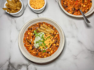 Top down bowl of chili