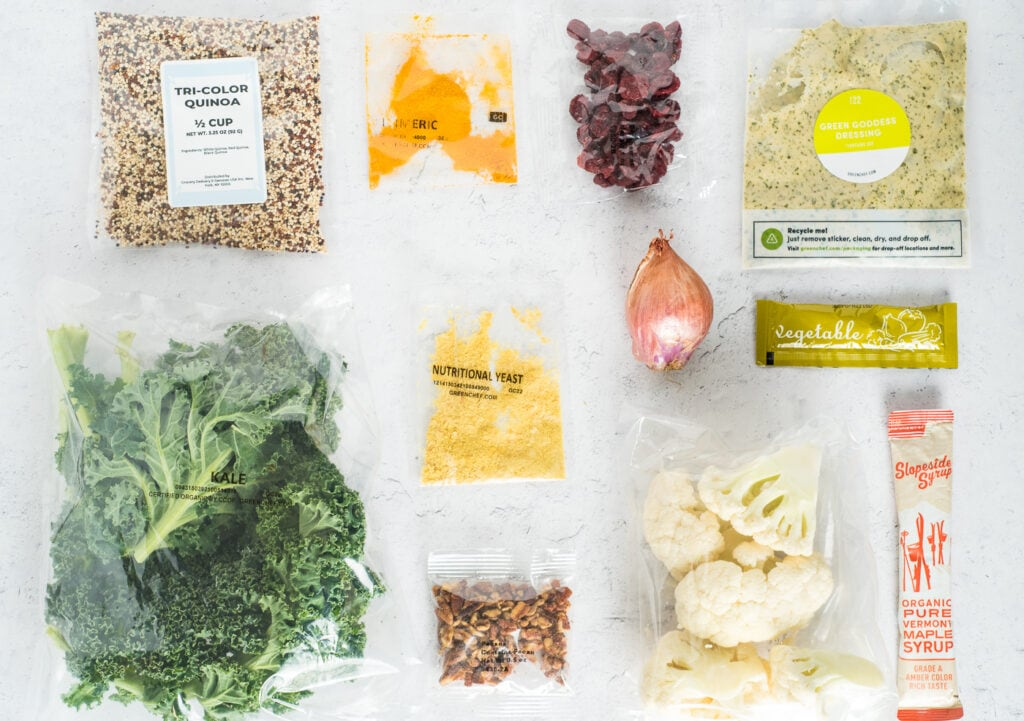 Top down view of ingredients for box meal