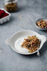 Bowl with granola and yogurt