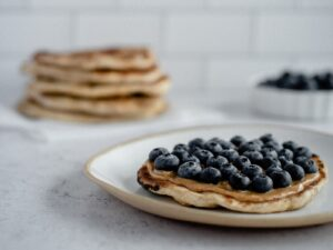 Naan bread with peanut butter and blueberries