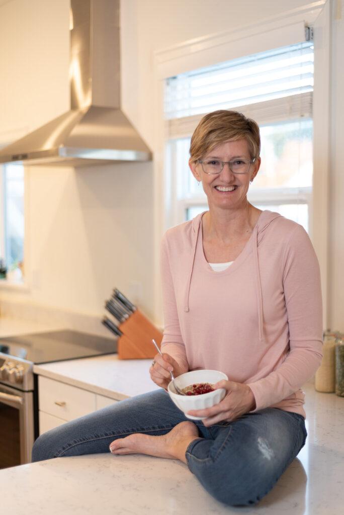 Kristine sitting on counter