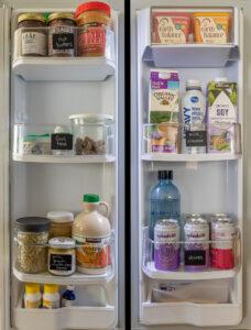 LG refrigerator doors full of food