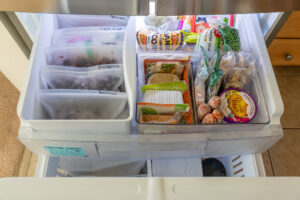 Freezer drawer filled with food
