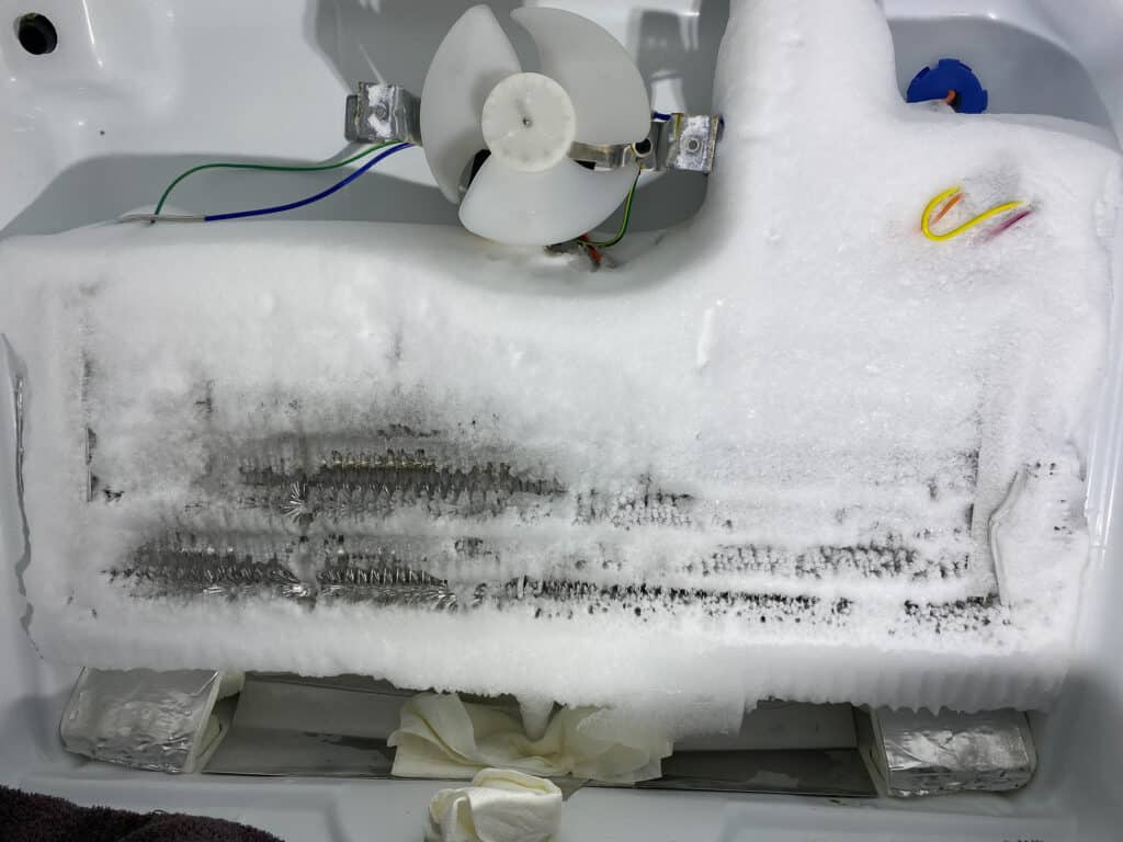 Frost covered freezer