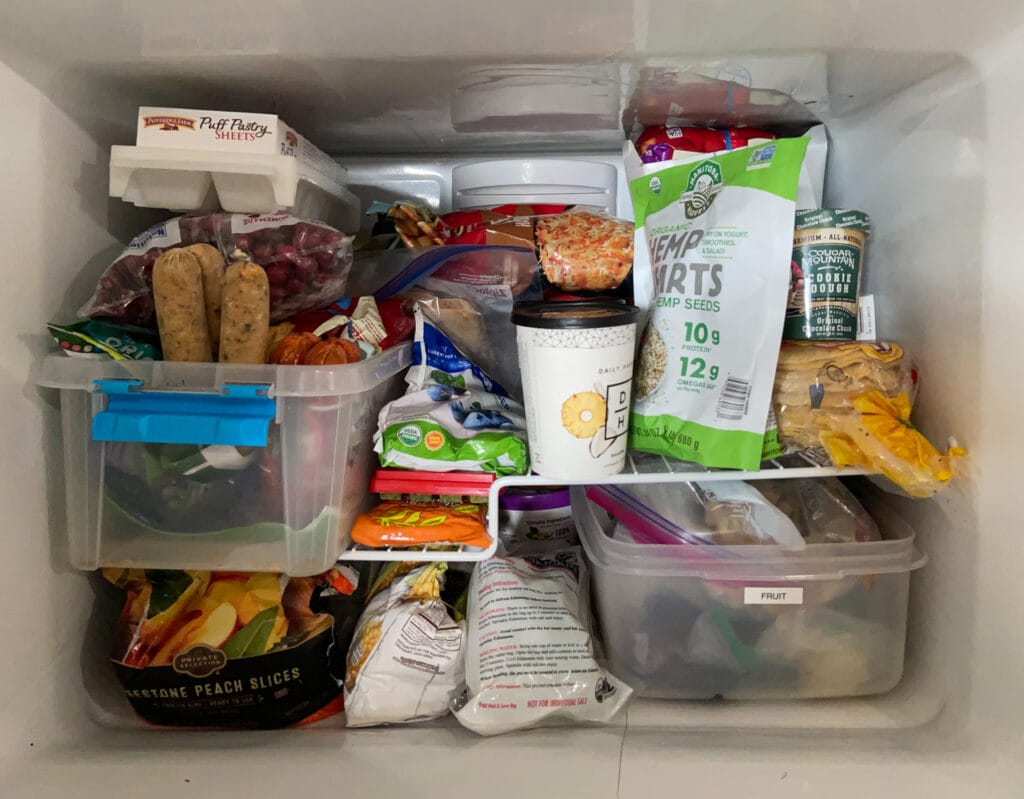 Freezer compartment of refrigerator full of food
