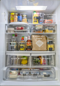 Refrigerator full of food with some areas labeled