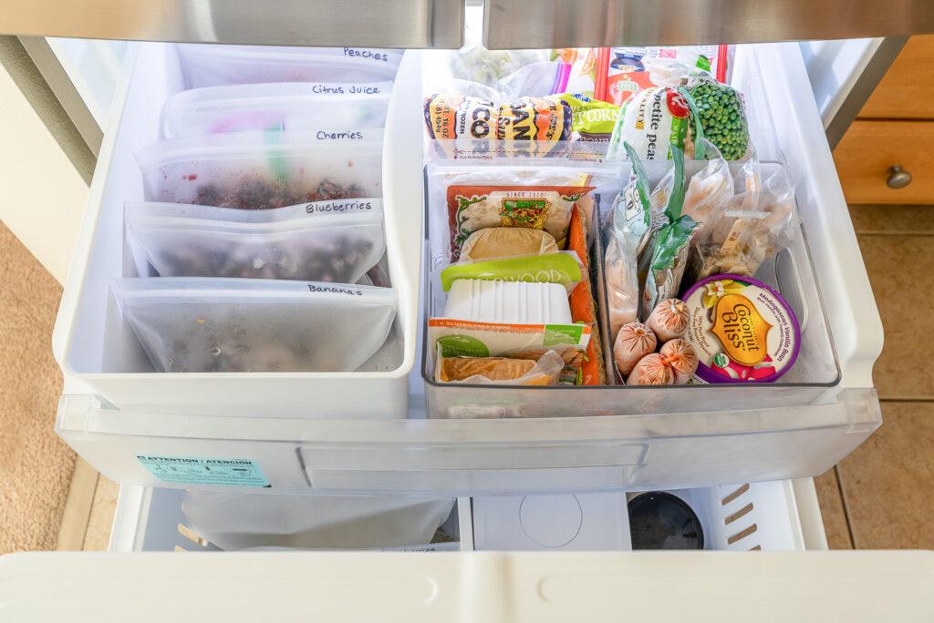 Freezer drawer full of food