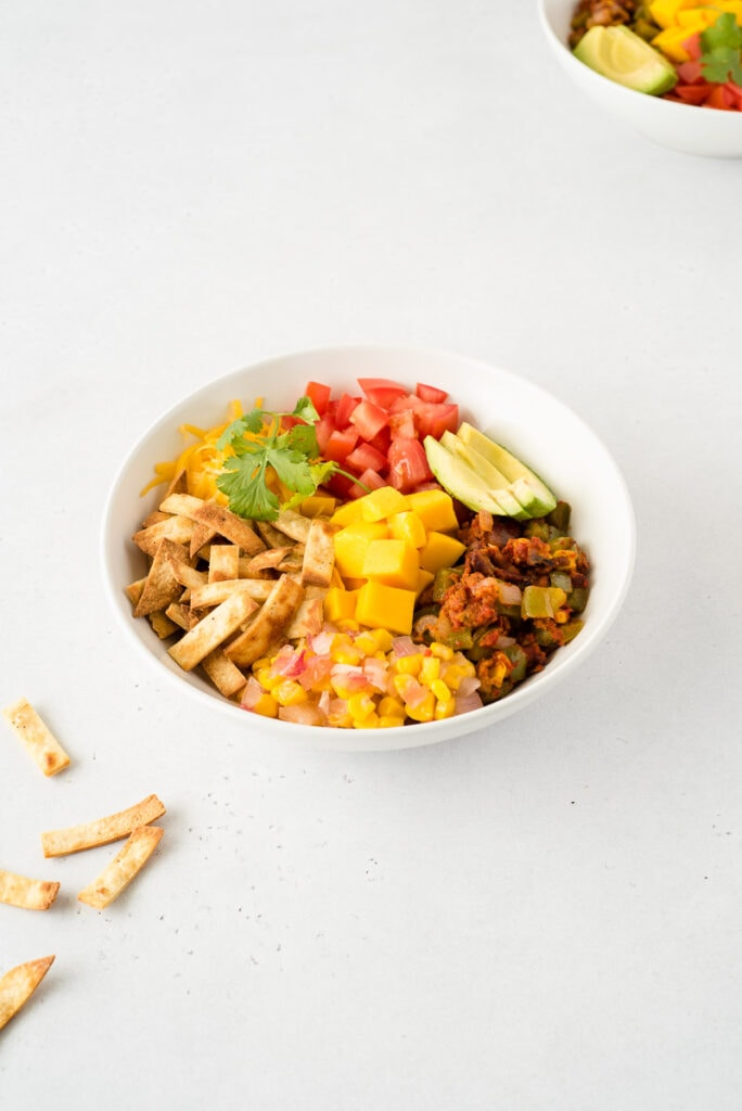 Taco ingredients in a bowl