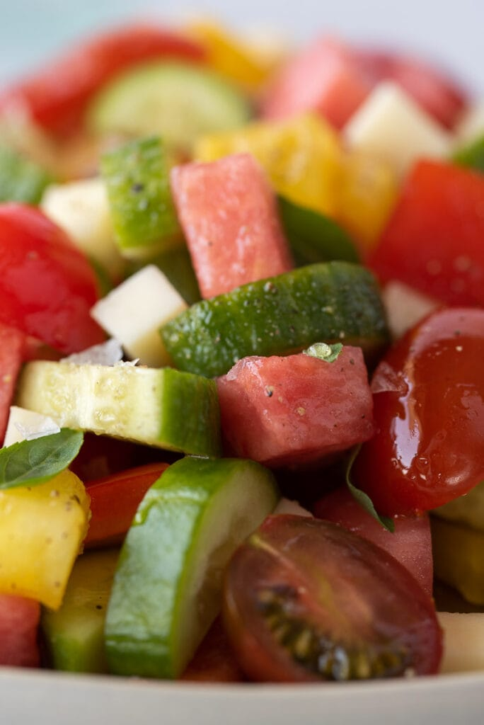 Close up of colorful fruit and veggie chopped