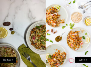 Two side by side pictures of couscous dishes