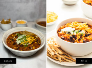 Two chili photos side by side