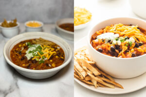 Two side by side photos of bowls of chili