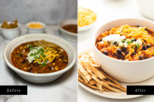 2 side by side pictures of chili