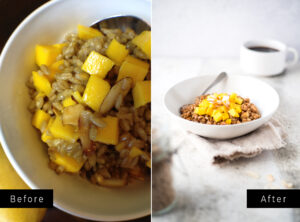 Two pictures side by side of hot cereal