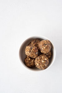 Top down view of a bowl of energy balls