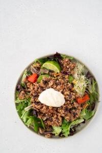 Top down view of vegetarian taco salad