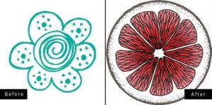 Two favicons side by side, flower and grapefruit