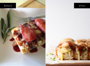 Two photos of focaccia side by side