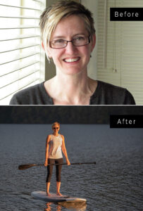 Top and bottom pics of a woman, a headshot and a picture on a paddle board