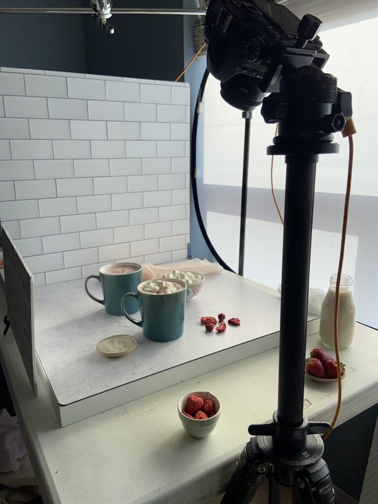 Food photography set up on table