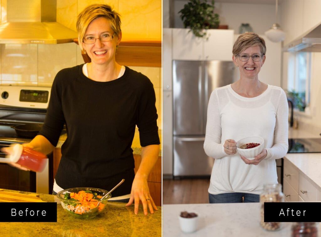 Two side by side shots of woman in kitchen