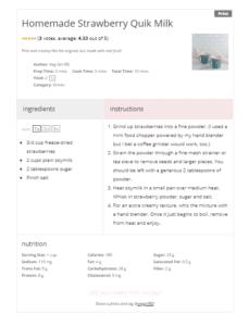 Recipe card for strawberry milk