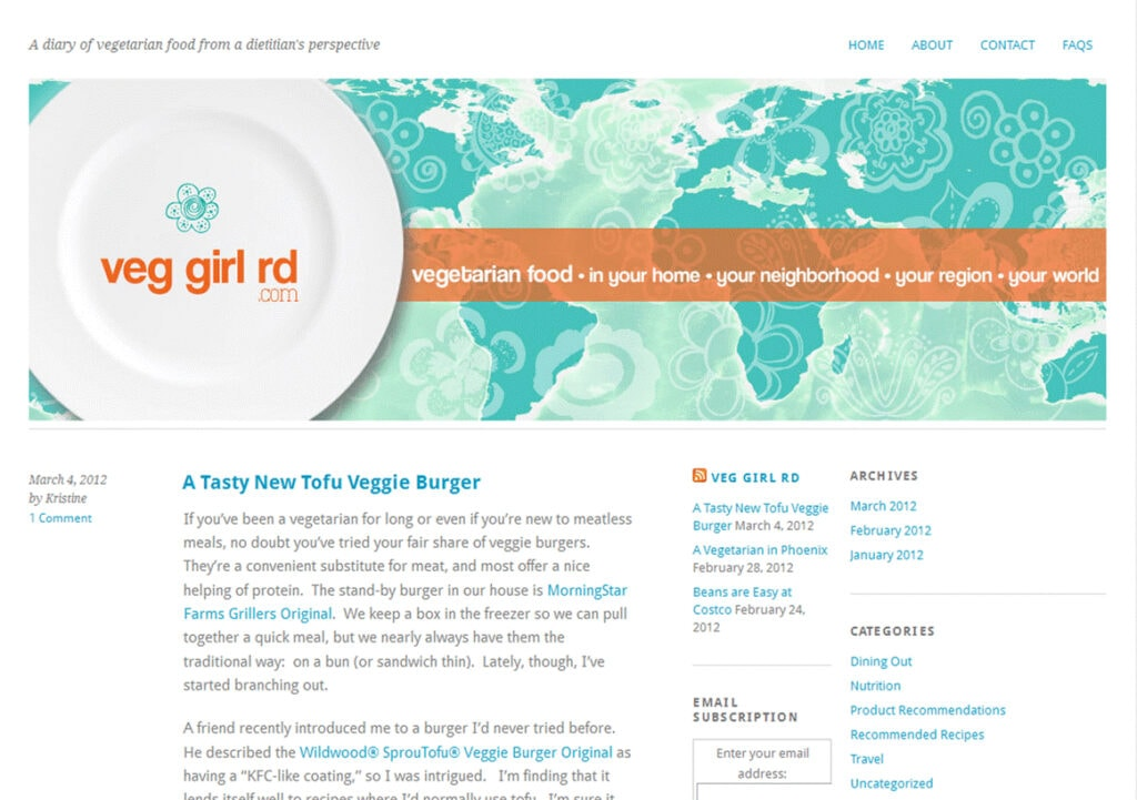 Screen capture of a blog homepage