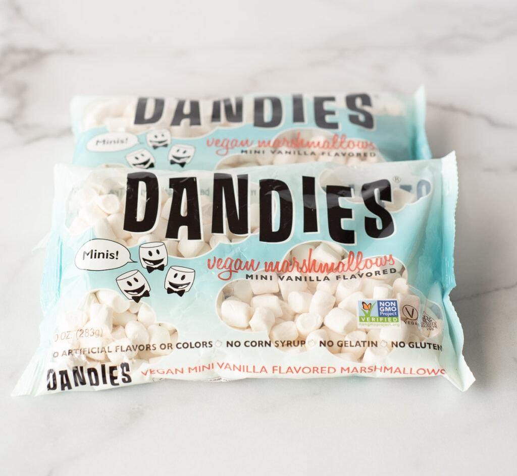 Two bags of vegan marshmallows